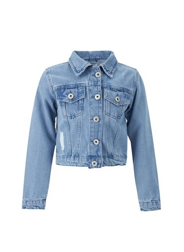 DeFacto Kız Çocuk Yıpratma Detaylı Jean Ceket Mavi